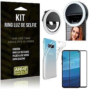 Ring Luz de Selfie Samsung Galaxy S10e Flash Ring + Capa Silicone + Película Vidro - Armyshield
