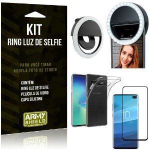 Ring Luz de Selfie Samsung Galaxy S10 Plus Flash Ring + Capa Silicone + Película Vidro - Armyshield