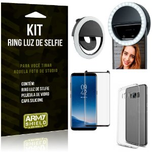 Ring Luz de Selfie Samsung Galaxy S8 Flash Ring + Capa Silicone + Película Vidro - Armyshield