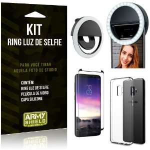 Ring Luz de Selfie Samsung Galaxy S9 Flash Ring + Capa Silicone + Película Vidro - Armyshield
