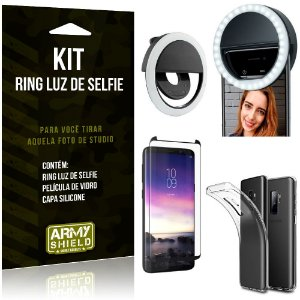 Ring Luz de Selfie Samsung Galaxy S9 Plus Flash Ring + Capa Silicone + Película Vidro - Armyshield