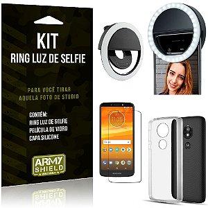 Ring Luz de Selfie Motorola Moto E5 Play Flash Ring + Capa Silicone + Película Vidro - Armyshield