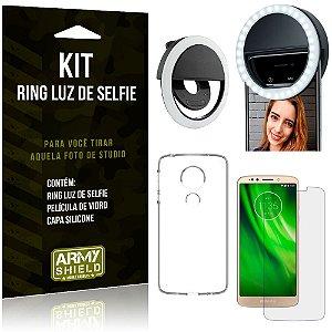 Ring Luz de Selfie Motorola Moto G6 Play Flash Ring + Capa Silicone + Película Vidro - Armyshield