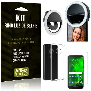 Ring Luz de Selfie Motorola Moto G6 Plus Flash Ring + Capa Silicone + Película Vidro - Armyshield