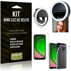 Ring Luz de Selfie Motorola Moto G7 Play Flash Ring + Capa Silicone + Película Vidro - Armyshield