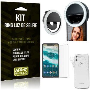 Ring Luz de Selfie Motorola Moto One Flash Ring + Capa Silicone + Película Vidro - Armyshield