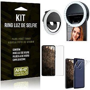 Ring Luz de Selfie Motorola Moto One Vision Flash Ring + Capa Silicone + Película Vidro - Armyshield