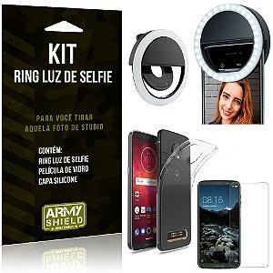 Ring Luz de Selfie Motorola Moto Z3 Play Flash Ring + Capa Silicone + Película Vidro - Armyshield