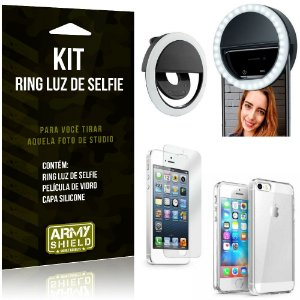 Ring Luz de Selfie Apple iPhone 5 - 5S - SE Flash Ring + Capa Silicone + Película Vidro - Armyshield