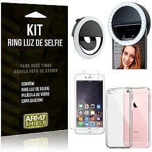 Ring Luz de Selfie Apple iPhone 6 - 6S Flash Ring + Capa Silicone + Película Vidro - Armyshield