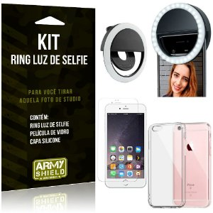 Ring Luz de Selfie Apple iPhone 6 6S Plus Flash Ring + Capa Silicone + Película Vidro - Armyshield