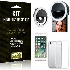 Ring Luz de Selfie Apple iPhone 7 Flash Ring + Capa Silicone + Película Vidro - Armyshield