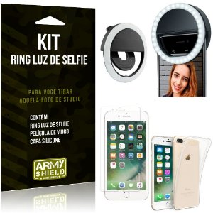 Ring Luz de Selfie Apple iPhone 7 Plus Flash Ring + Capa Silicone + Película Vidro - Armyshield