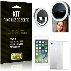 Ring Luz de Selfie Apple iPhone 8 Flash Ring + Capa Silicone + Película Vidro - Armyshield