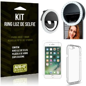 Ring Luz de Selfie Apple iPhone 8 Plus Flash Ring + Capa Silicone + Película Vidro - Armyshield