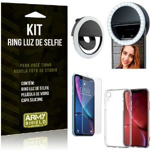 Ring Luz de Selfie Apple iPhone XR 6.1 Flash Ring + Capa Silicone + Película Vidro - Armyshield
