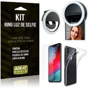 Ring Luz de Selfie Apple iPhone XS Max 6.5 Flash Ring + Capa Silicone + Película Vidro - Armyshield