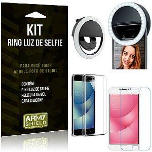 Ring Luz de Selfie Zenfone 4 Max ZC554KL Flash Ring + Capa Silicone + Película Gel - Armyshield
