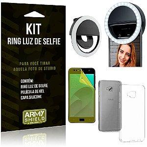 Ring Luz de Selfie Zenfone 4 Selfie ZD553KL Flash Ring + Capa Silicone + Película Gel - Armyshield