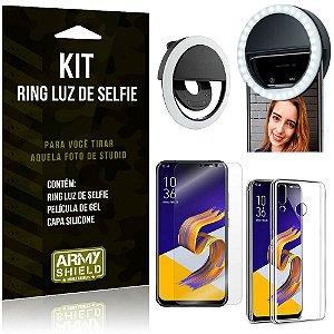 Ring Luz de Selfie Zenfone 5 ZE620KL Flash Ring + Capa Silicone + Película Gel - Armyshield