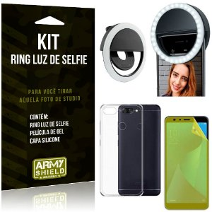 Ring Luz de Selfie Asus Zenfone Max Plus M1 ZB570TL Flash Ring + Capa + Película Gel - Armyshield
