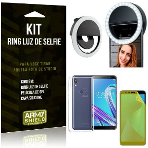 Ring Luz de Selfie Asus Zenfone Max Pro M1 ZB602KL Flash Ring + Capa + Película Gel - Armyshield