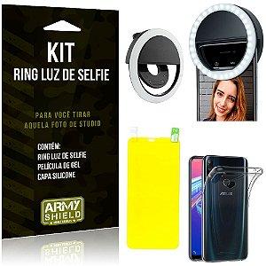 Ring Luz de Selfie Asus Zenfone Max Pro M2 ZB631KL Flash Ring + Capa + Película Gel - Armyshield