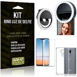 Ring Luz de Selfie LG G7 Flash Ring + Capa Silicone + Película Vidro - Armyshield