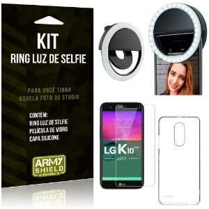 Ring Luz de Selfie LG K10 Novo Flash Ring + Capa Silicone + Película Vidro - Armyshield