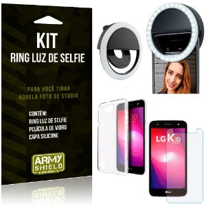 Ring Luz de Selfie LG K10 Power Flash Ring + Capa Silicone + Película Vidro - Armyshield