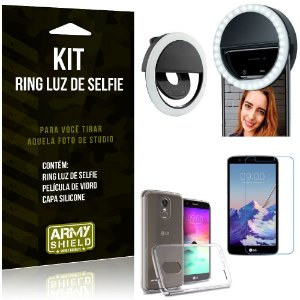 Ring Luz de Selfie LG K10 Pro Flash Ring + Capa Silicone + Película Vidro - Armyshield