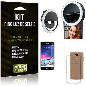 Ring Luz de Selfie LG K8 Novo Flash Ring + Capa Silicone + Película Vidro - Armyshield