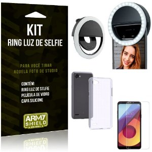 Ring Luz de Selfie LG Q6 - Q6 Plus Flash Ring + Capa Silicone + Película Vidro - Armyshield