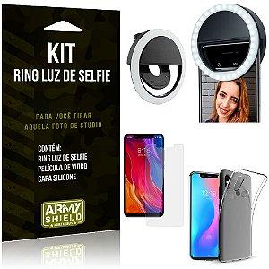 Ring Luz de Selfie Xiaomi Mi 8 Flash Ring + Capa Silicone + Película Vidro - Armyshield