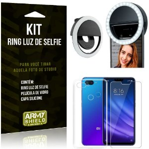 Ring Luz de Selfie Xiaomi Mi 8 Lite Flash Ring + Capa Silicone + Película Vidro - Armyshield