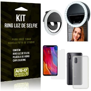 Ring Luz de Selfie Xiaomi Mi 8 Pro Flash Ring + Capa Silicone + Película Vidro - Armyshield