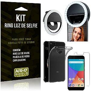 Ring Luz de Selfie Xiaomi Mi A1 (Mi 5X) Flash Ring + Capa Silicone + Película Vidro - Armyshield