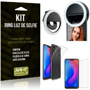 Ring Luz de Selfie Xiaomi Mi A2 Lite (Redmi 6 Pro) Flash Ring + Capa + Película Vidro - Armyshield