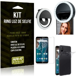 Ring Luz de Selfie Xiaomi Mi A2 (Mi 6X) Flash Ring + Capa Silicone + Película Vidro - Armyshield