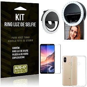 Ring Luz de Selfie Xiaomi Mi Max 3 Flash Ring + Capa Silicone + Película Vidro - Armyshield