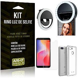 Ring Luz de Selfie Xiaomi Redmi 6 Flash Ring + Capa Silicone + Película Vidro - Armyshield