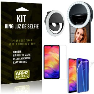 Ring Luz de Selfie Xiaomi Redmi Note 7 - Note 7 Pro Flash Ring + Capa + Película Vidro - Armyshield