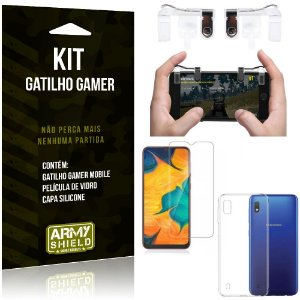 Gatilho Gamer Samsung Galaxy A10 Gatilho + Capa Silicone + Película Vidro - Armyshield