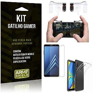 Gatilho Gamer Samsung Galaxy A7 (2018) Gatilho + Capa Silicone + Película Vidro - Armyshield