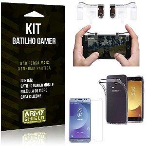 Gatilho Gamer Samsung Galaxy J5 Pro (2017) Gatilho + Capa Silicone + Película Vidro - Armyshield