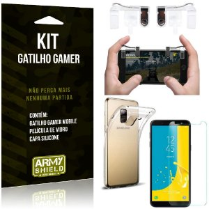 Gatilho Gamer Samsung Galaxy J6 (2018) Gatilho + Capa Silicone + Película Vidro - Armyshield