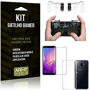 Gatilho Gamer Samsung Galaxy J6 Plus (2018) Gatilho + Capa Silicone+ Película Vidro - Armyshield