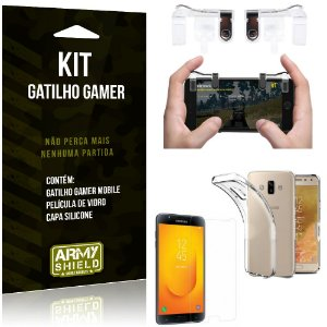 Gatilho Gamer Samsung Galaxy J7 Duo (2018) Gatilho + Capa Silicone + Película Vidro - Armyshield