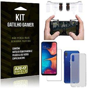 Gatilho Gamer Samsung Galaxy M10 Gatilho + Capa Silicone + Película Vidro - Armyshield