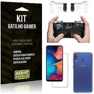 Gatilho Gamer Samsung Galaxy M20 Gatilho + Capa Silicone + Película Vidro - Armyshield